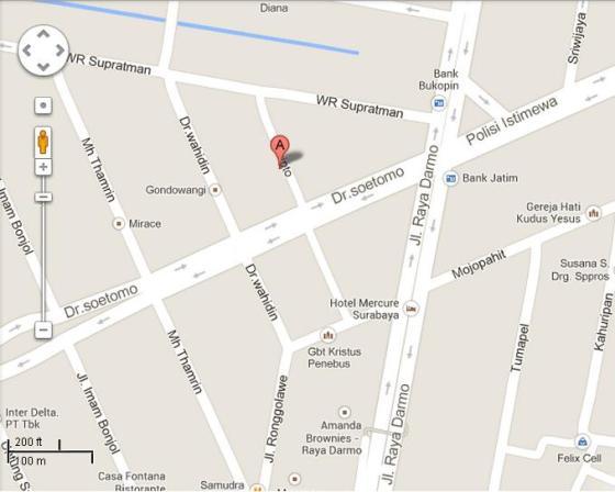 Hasil Google Map Lokasi c2o Library Surabaya